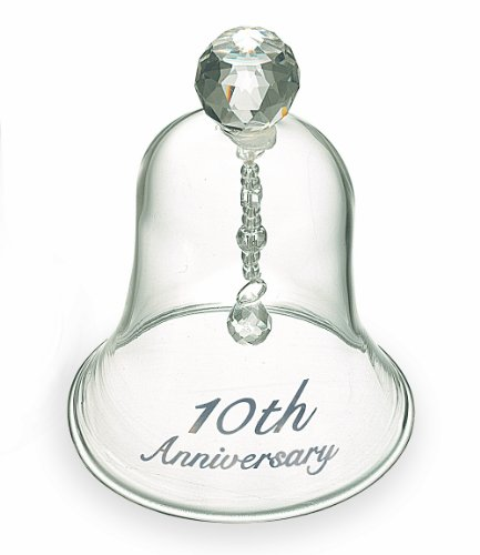 Russ 10th Anniversary Glass Bell, 4-Inch by Russ