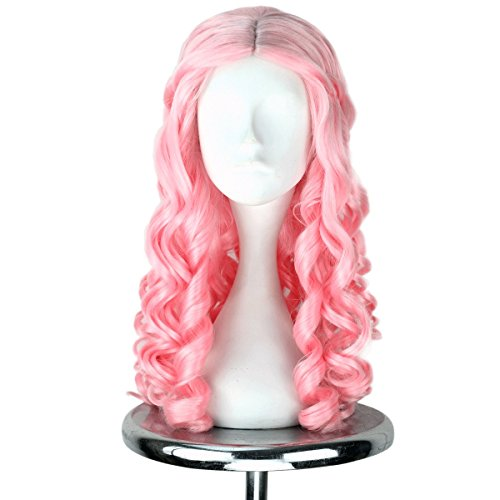 Miss U Hair Women Girl's Long Light Pink Curly Hair Halloween Cosplay Costume Wig Adult Kids