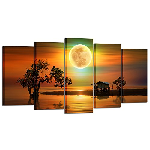 Beautiful 5 Piece - Kreative Arts - 5 Piece Canvas Wall Art Beautiful Silent Night Full Moon Paintings Seascape Picture Giclee Poster Art Prints for Living Room Set Wooden Framed Ready to Hang (Large Size 60x32inch)