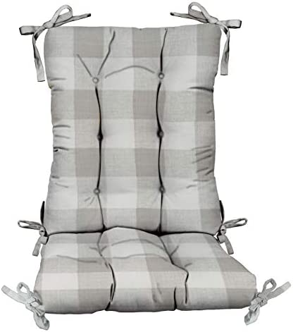 RSH D cor Indoor Outdoor Tufted Rocker Chair Cushion Set with Ties Choose Color Size Great for Patio Home D cor Jumbo – Back 18 Wx24 H Seat 20 Wx18 D, Sea Salt Grey Gray Buffalo Plaid