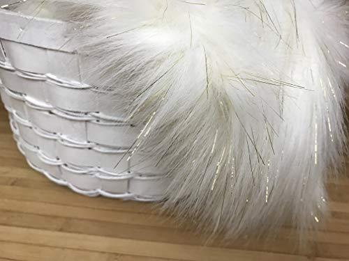Bianna Luxury Faux Fur Shag Shaggy Fabric Piece/DIY Craft Project/Photo Prop Backdrop/Basket Filler/Fursuit/Trim (Ivory with Golden Sparkle, 8x8 inches)