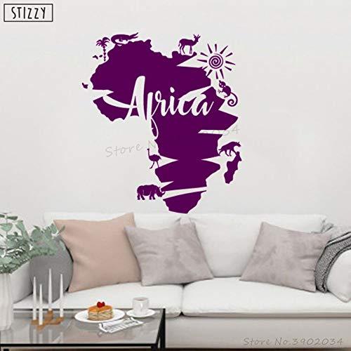 zhuziji Tatuajes de Pared África Mapa Animal Vinilo Pegatina de ...