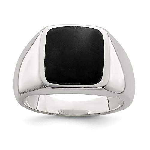 925 Sterling Silver Synthetic Black Onyx Band Ring Size 8.00 Stone Fine Jewelry Gifts For Women For ()