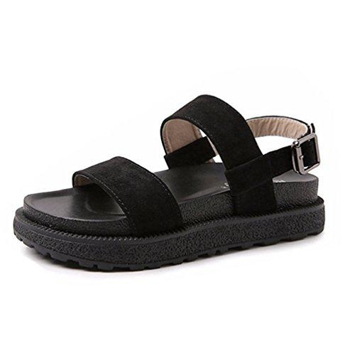 Sandalia Cu Sandalias Toe Correa Confort Negro Tobillo a Hebilla de Zapatos Footing Plataforma Mujer Abierto IwW75
