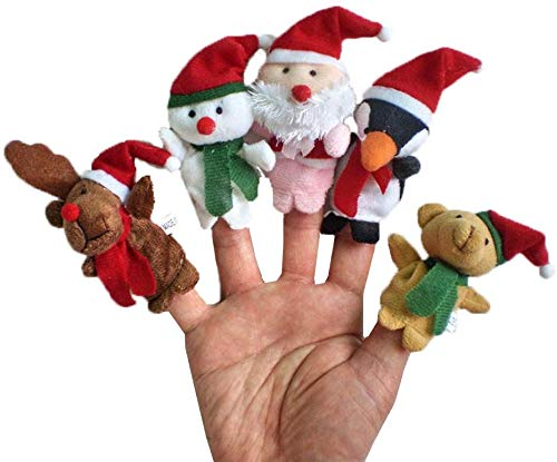Chris.W 10Pcs Christmas Finger Puppets Elk Santa Claus Snowman Reindeer Character Finger Toys for Children and Adults Christmas Party Favors Goodie Bag Fillers
