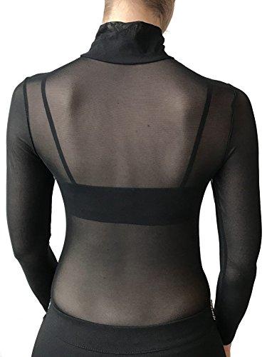 in Lupetto Nero Lunga a Donna Nero Tulle Sensuale Nudo Solo Sexy e a Effetto Body Trasparente e Seducente Manica Collo Elastico Body Yw4Zq