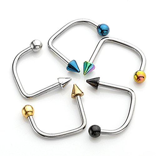 JOVIVI 16G Punk Stainless Steel Bar Ball Lippy Loop Lip labret Ring Piercing, Mixed Color, ()