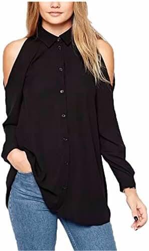 ZANZEA Women Chiffon Sheer Off Shoulder Long Sleeve Button Down Shirts Blouse