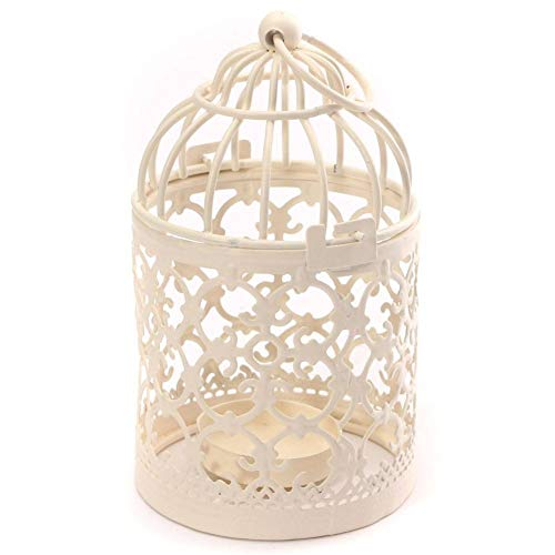 - HOMEGOAL Bird Cage Metal Hollow Out Decorative Birdcage Iron Candle Holder Candlestick Hanging Lantern Pack of 2(White)