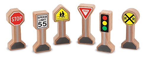 Melissa & Doug Whittle World - Wooden Traffic Signs Play Set (6 pcs) Doug Stop Sign