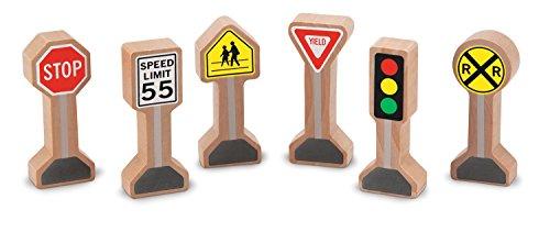 Melissa & Doug Whittle World - Wooden Traffic Signs Play Set (6 pcs) Doug Stop Sign