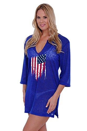 SHORE TRENDZ Women's USA Flag Distressed Tunic Swimwear Cover-up Beach Dress: Royal