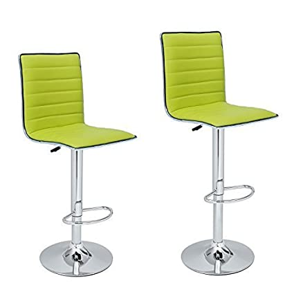 Awe Inspiring Asense Adjustable And Rotation Bar Stools With Back Bar Chair Set Of 2 Pu Lime Green Beatyapartments Chair Design Images Beatyapartmentscom