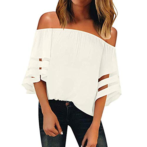 Wintialy 2019 Women Off Shoulder Mesh Panel Blouse 3/4 Bell Sleeve Loose Top Shirt White ()