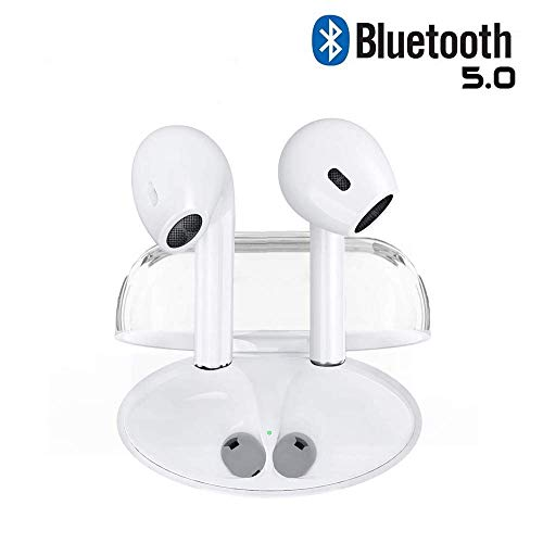 Bluetooth Headphones Wireless Earbuds Earphones in-Ear for Sport Bluetooth 5.0 Earphones Stereo Sound Noise Cancelling 2 Built-in Mic Earphones-White