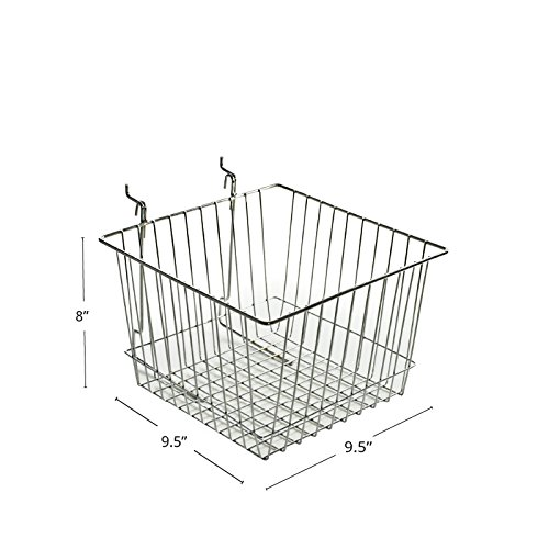 Count of 2 Chrome 8''H Wire Basket with 2 wire hooks 12'' Wide x 8'' High x 12'' D by Wire Basket