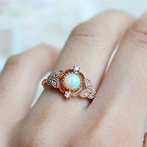 Amazon.com: JEWH Floral Opal Rings for Women - Vintage Fashion Rose Gold Filled Leaf Zircon Ring - Luxury Wedding Jewelry - Sweet Anniversary Gift (Style 2) ...