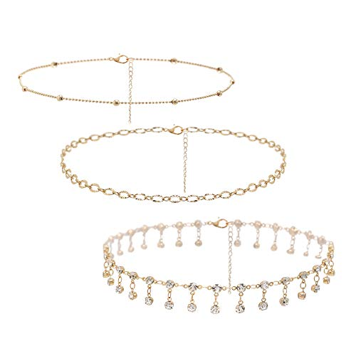 So Pretty Dainty Crystal Gold Choker Necklaces-3 Pieces Set Layered Bead Chain Choker Set for Women Girls