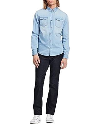 Calvin Klein Men's Long Sleeve Basic Denim Shirt, Chill Indigo, Large