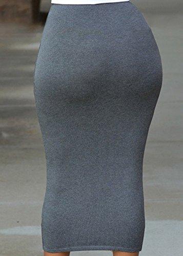 Femmes Taille JackenLOVE Moulante Sexy Haute Midi Jupe de Package Mode Soire Jupes Gris Fte Hanche dwUqB