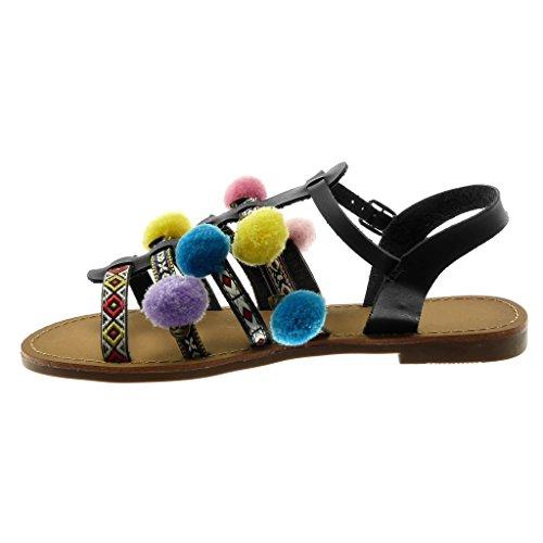 Alla Ricamo Tacco Nero Scarpe Pon Sandali 5 Donna Blocco Moda Gladiatore Caviglia Cinturino Angkorly Gioielli Con Cm A Folk 1 0HOPHx