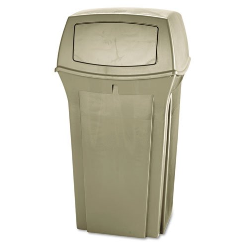 (Rubbermaid Commercial 843088BG Ranger Fire-Safe Container, Square, Structural Foam, 35gal, Beige)