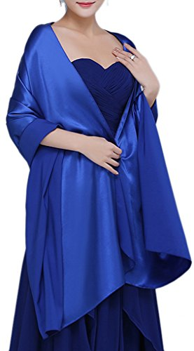 Chiffon Satin Wrap - Alivila.Y Fashion Women's Bridal Soft Satin Long Wrap Scarf Shawl-Royal Blue Satin Scarf
