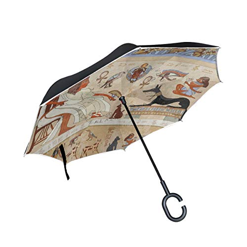 Inverted Umbrella Ancient Hieroglyph Egyptian Culture Double Layer Reverse Umbrella for Car Windproof UV Protection Big Straight with C-Shaped Handle