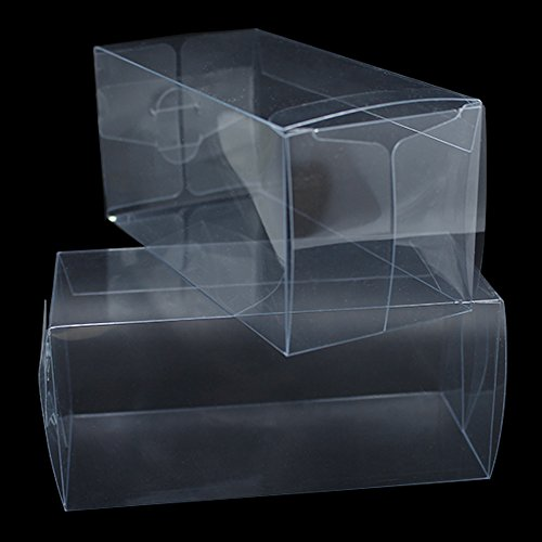 Variety Size Clear PVC Gift Present Candy Cupcake Favor Decoration Poly Boxes Transparent Bridal Crafts Arts Invitation Retail Product Wrapping Packaging Box (200, 2.0x2.0x4.7 inch(5x5x12 cm)) by PABCK (Image #1)