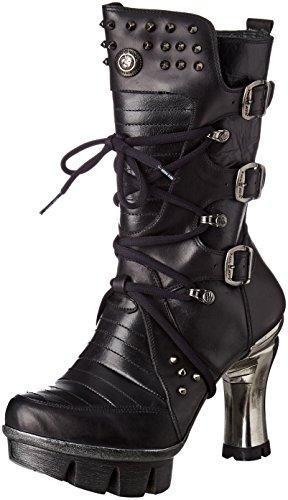 M New Bottes Rock Motardes s1 neopunk004 Femme Noir HwwzxqOZn