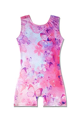 girls gymnastics leotards with shorts 5t size 5-6 years old 5-6x flower floral butterfly pink sparkle