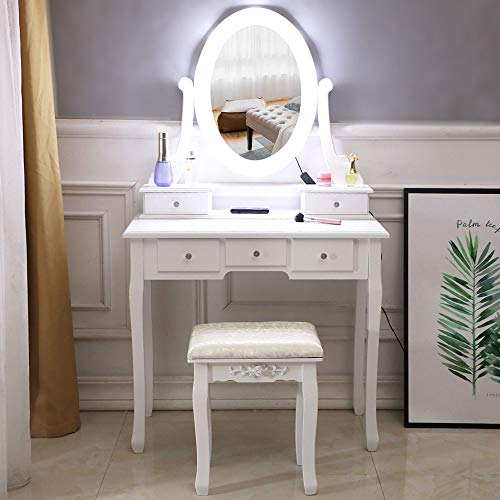 firlar Makeup Vanity Table Set and Cushioned Stool, Dressing Table with Light Bulb,5 Drawers Single Mirror Wooden Makeup Vanity Table