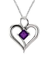 Sterling Silver Genuine 0.60 tcw. 5mm Amethyst Heart Pendant