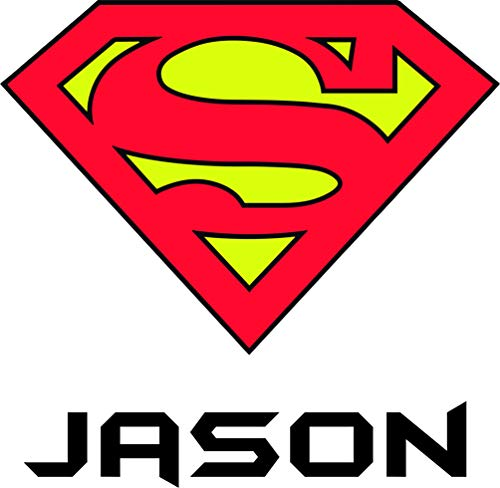 Superman Name Stickers Personalized Custom Name Wall Decals Wall Design Stickers Vinyl Removable Children Kids Rooms Girls Boys Baby Nursery Cartoon Size 15x15 inch