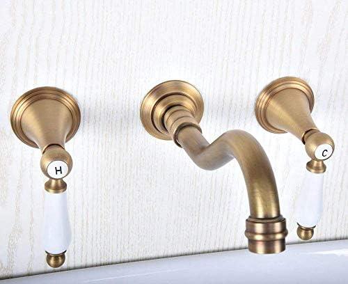 BXU-BG 蛇口アンティーク真鍮の浴室のシンクミキサータップデュアルミキサータップウォールは、浴室の蛇口を取り付けた3つのホールを処理します