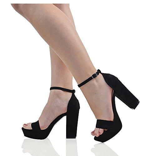 Essex Glam Womens Platform Block Heel Sandals Black Faux Suede Ankle Strap Shoes 7 B(M) US (Womens Platform Heel Block)
