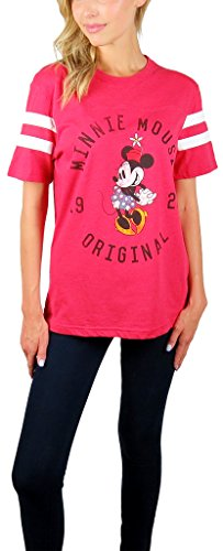 Vintage Minnie Mouse - Disney Womens Minnie Mouse Varsity Football Tee Red Heather (Small, Vintage Red)
