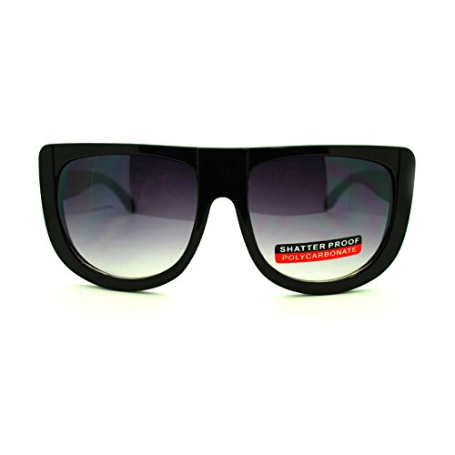 Unisex Thick Plastic Nerdy Hipster Flat Top U Shape Mobster Sunglasses - Mobster Glasses