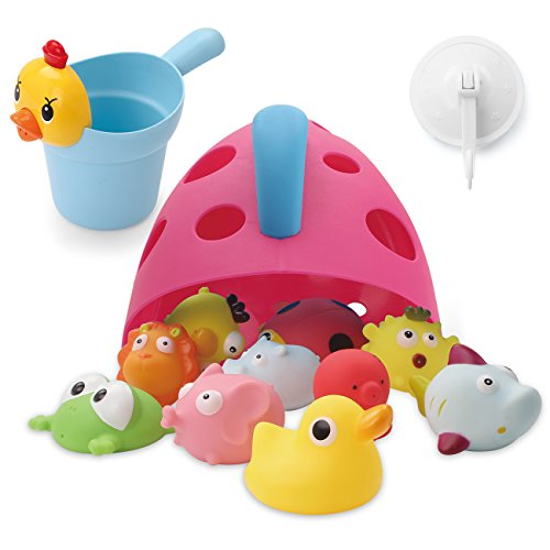 Freestanding Bath Toy Organizer Bath Caddy with Scoop for Toddlers Baby - Dolphin Mold Plastic