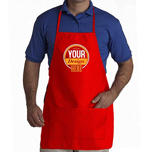 Apron Valentine Personalized (Idakoos Apron Add your own Custom Picture and/or Text on Front Red)