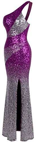 Women's Sequin Shoulder Purple Gradient Dress One Angel Slit Splicing fashions Evening fwqP7FxT