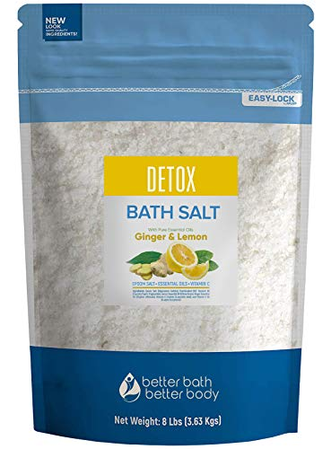 Detox Bath Salt 128 Ounces Epsom Salt with Ginger and Lemon Essential Oils Plus Vitamin C and All Natural Ingredients BPA Free Pouch With Easy Press-Lock Seal