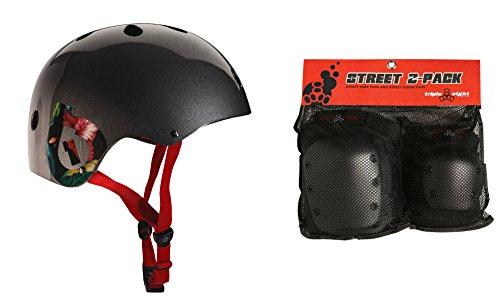 661 Dirt Lid Plus Skate BMX Helmet Grey CPSC + TRIPLE 8 Knee Elbow Pads Large ()
