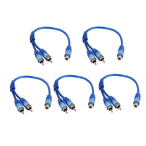 UXcell 5pcs Blue RCA Female to 2 RCA Male Adapter Splitte...