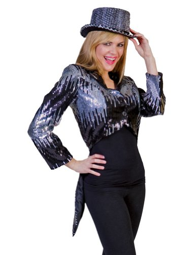 [Funny Fashions - Glitter Tailcoat Silver Adult Costume - Adult Large] (Womens Tailcoat Costume)