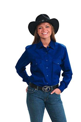 Women's Button Down Cotton Western Cowboy Shirt-Royal-XS