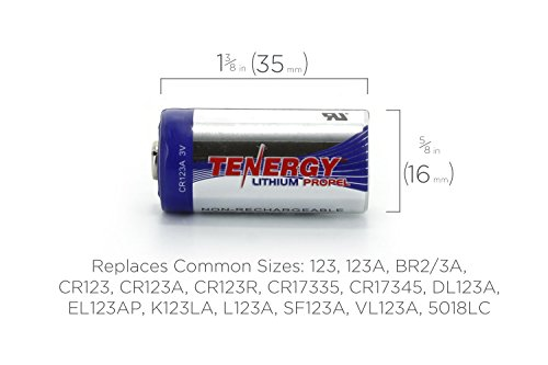 Tenergy Propel 3V CR123A Lithium Battery, High Performance CR123A Cell Batteries PTC Protected for Cameras, Flashlight Replacement CR123A Batteries, 40-Pack