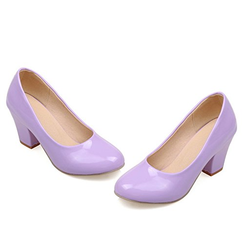 BalaMasa Ladies Pull-On Chunky Heels Round-Toe Patent-Leather Pumps-Shoes Purple 1bCUp