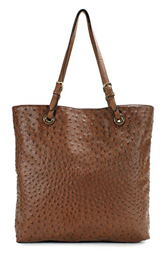 Scarleton Ostrich Large Tote H115604 - Brown