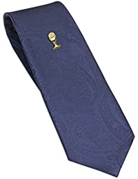 Boys First Communion Tie and Chalice Tie Pin in Gold-Tone, 45-inch